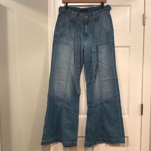 NWT 7 for all mankind belted palazzo jeans 31 lite